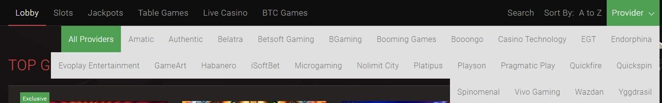 Bitstarz casino providers