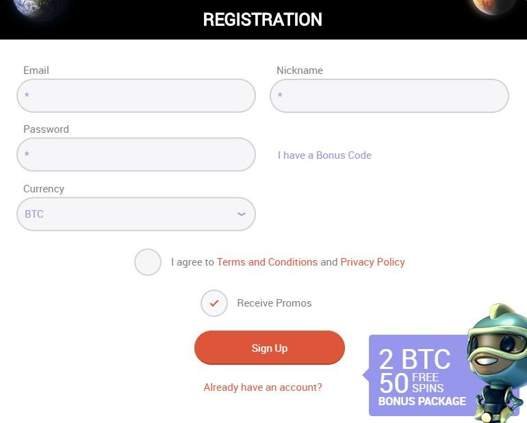 Mars casino account registration